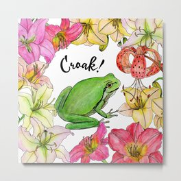 watercolor frog with lilies Metal Print