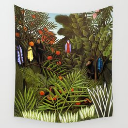 Exotic Jungle Landscape with Monkeys and Birds by Henri Rousseau Wall Tapestry