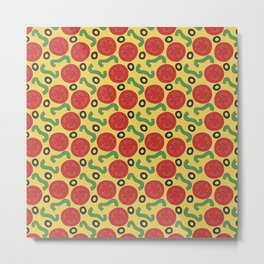 Pizza Topping Pattern Metal Print