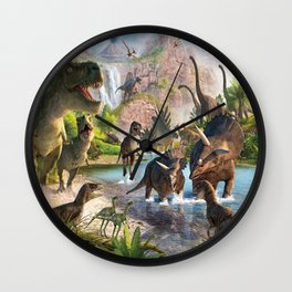 Jurassic dinosaurs in the river Wall Clock