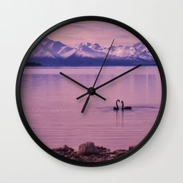 Black swans in love Wall Clock