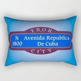 Ybor City Florida Street Sign Avenida Republica De Cuba Avenue of Cuba  Rectangular Pillow