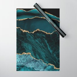Teal Blue Emerald Marble Landscapes Wrapping Paper