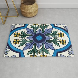 Talavera Mexican tile inspired bold design in blues, greens, and yellows Rug