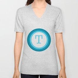 Blue letter T Unisex V-Neck