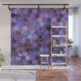 Purple geometric hexagonal elegant & luxury pattern Wall Mural