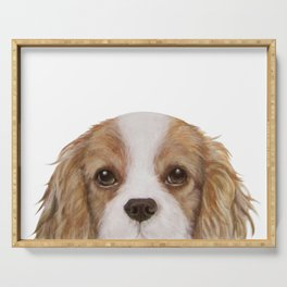 Cavalier King Charles Spaniel Dog illustration original painting print Serving Tray