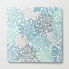 Chic, Flowers Print, Teal, Aqua, Gray Metal Print