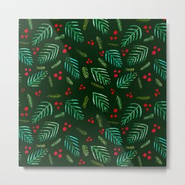 Christmas tree branches and berries - green Metal Print