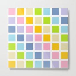 Pastel Rainbow Squares Metal Print