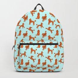 Red Poodles Pattern (Light Blue Background) Backpack