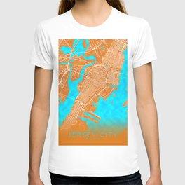 Jersey City, NJ, USA, Gold, Blue, City, Map T-shirt