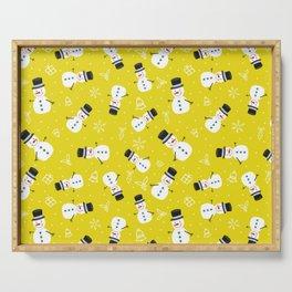 Snowmen on Golden Yellow Christmas Pattern Digital Graphic Design Serving Tray