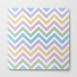 Pastel Rainbow Zigzag Spring Chevron Pattern Metal Print