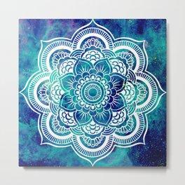 Galaxy Mandala Turquoise Teal Indigo Metal Print