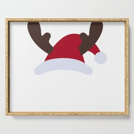 Cute Santa Hat Embroidery Unisex T-Shirt Serving Tray