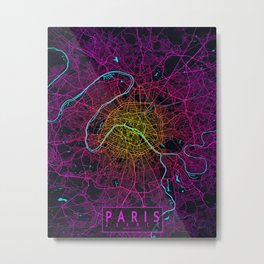 Paris City Map of France - Neon Metal Print