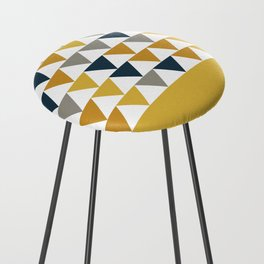 Arrows Cuff - Minimalist Geometric Color Block Pattern in Light and Dark Mustard, Grey, Navy Blue, and White Counter Stool
