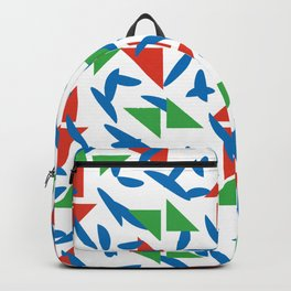 Ornaments damask seamless red green blue triangles decorative graphic vector pattern-03 Backpack