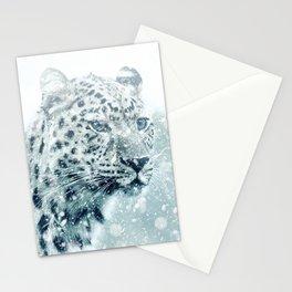 Snow Leopard Cheetah Winter Wild Animal Stationery Cards