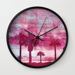 Pacific Island Grunge Look Mixed Media Art Wall Clock