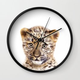 Baby Leopard, Baby Animals Art Print By Synplus Wall Clock