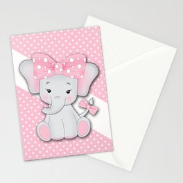 Cute cartoon baby elephant on a pink white polka dot background. Stationery Cards