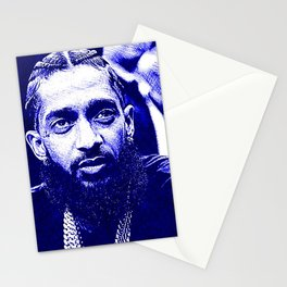 Nip The Great - Marathon - Hussle - Nipsey - 5 Gold Chains PopArt - Blue Pen Ink Stationery Cards