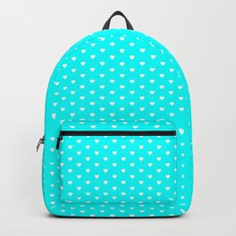 Small White Heart pattern On Aqua Blue Background Backpack