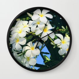 Hawaiian Tropical Plumeria Flowers With Peep of Sky Wall Clock