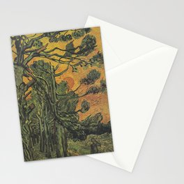 Vincent Van Gogh - Pine Trees with Setting Sun Stationery Cards