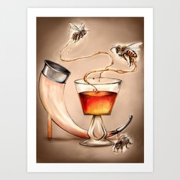 Honey Mead Bees Art Print