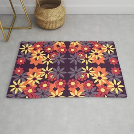 pattern with leaves and flowers doodling style Rug