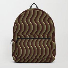 Metal Brown Wavy Vertical Lines Backpack