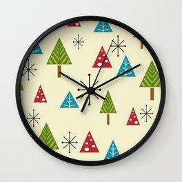 Mid Century Modern Christmas Trees Wall Clock